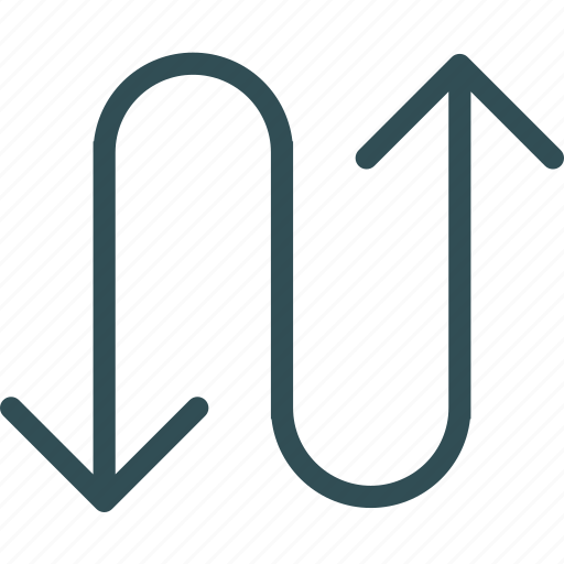 arrow, direction, snake, way icon