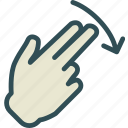down, hand, interaction, nal, return, touchdiago, twofinger icon