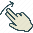 hand, interaction, touchleft, twofinger, up icon