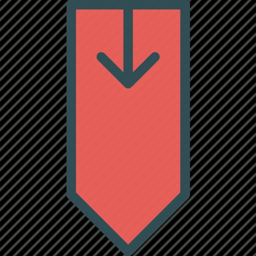 arrow, direction, directiondown, tag icon