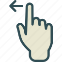 arrow, gesture, hand, left, swipe icon