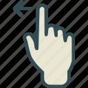 arrow, gesture, hand, left, swipe