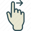 arrow, forward, gesture, hand, play, swipe icon