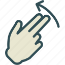 hand, interaction, nal, return, touchsdiago, twofinger, up icon