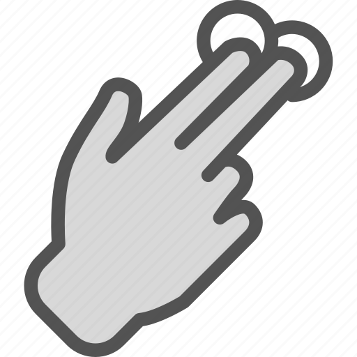 hand, interaction, touchs, twofinger icon