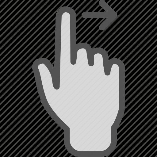 arrow, forward, gesture, hand, play, swipe icon