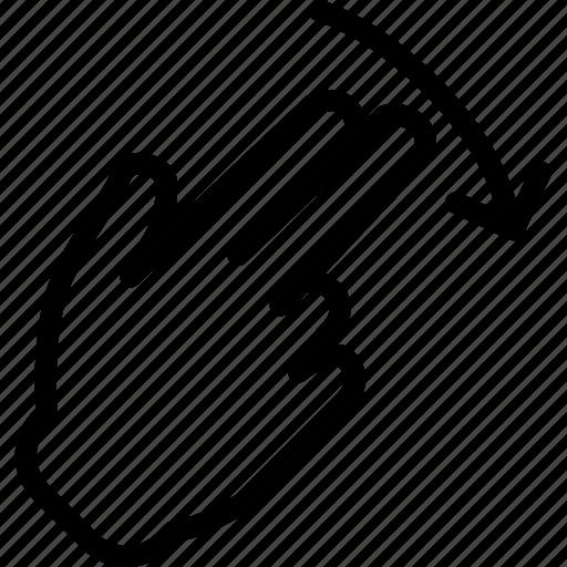 down, hand, interaction, nal, return, touchdiago, twofinger icon