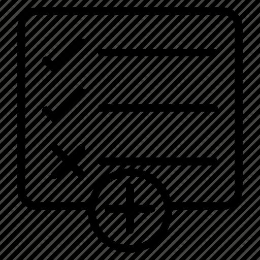 add, checklist, document, project, tasklist icon