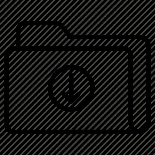 arrow, directory, download, files, folder icon