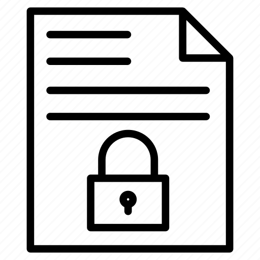 document, file, lock, private, secure icon