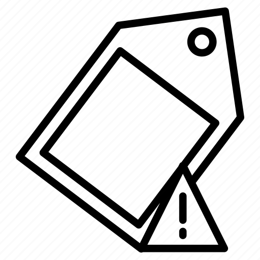 error, label, shopping, tag, warning icon