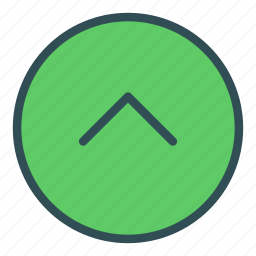 arrow, character, circle, shape, sign, up icon