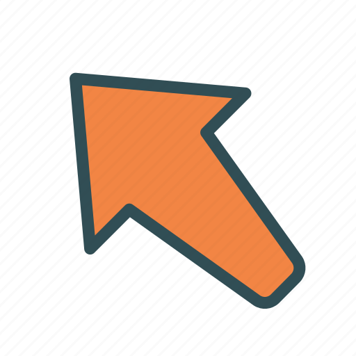 arrow, left, pointing, up icon