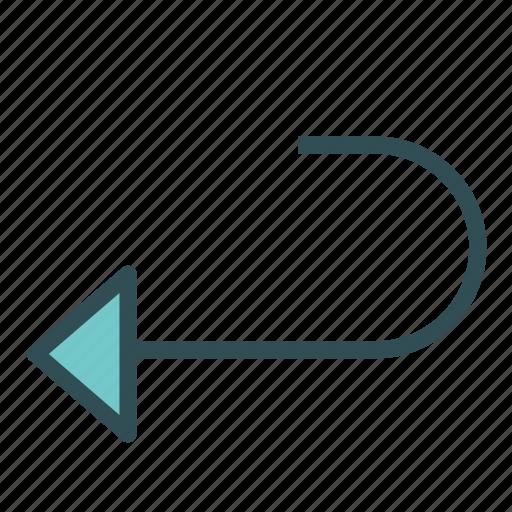 arrow, curve, left, redo, repeat icon