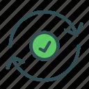 arrow, checked, circle, ok, sign icon