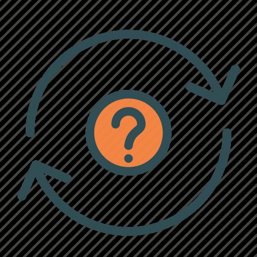 arrow, circle, mark, question, repeat icon