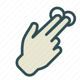 double, finger, hand, screen, touch icon
