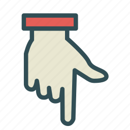 down, finger, hand, pointing icon