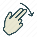 arrow, down, finger, hand, swipe icon