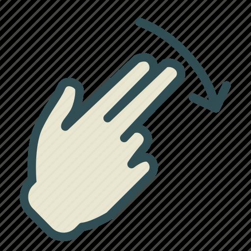 arrow, down, finger, hand, swipe icon