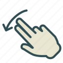 arrow, down, finger, hand, left, swap, swipe icon