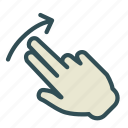 arrow, finger, hand, left, swap, swipe, up icon