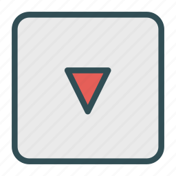 down, play, sign icon