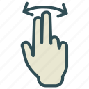 arrow, double, finger, hand, swap, swipe icon