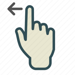 arrow, finger, hand, left, screen, swipe, touch icon