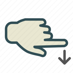 arrow, down, hand, screen, swipe, touch icon