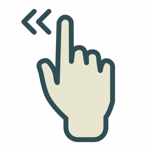 finger, hand, left, screen, swipe, touch icon