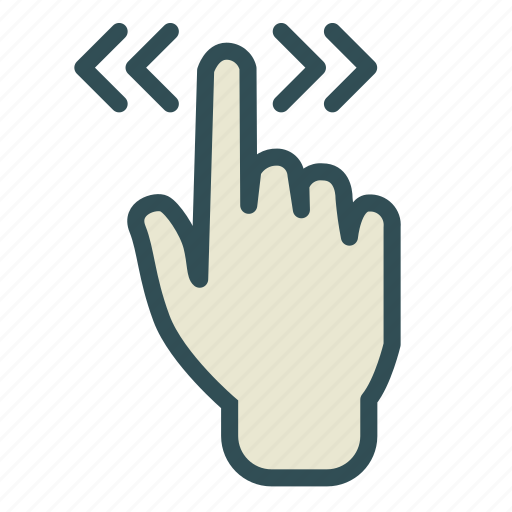 arrow, double, finger, hand, screen, touch icon