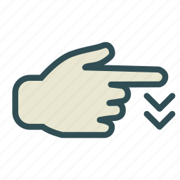down, finger, hand, screen, swipe, touch icon