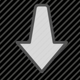 arrow, down, pointing icon