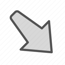 arrow, down, pointing, right icon