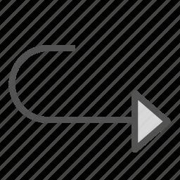 arrow, curve, redo, repeat, right icon