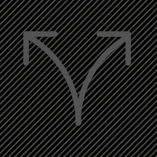 arrow, split, two, up, way icon