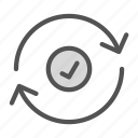 arrow, checked, circle, ok, sign icon