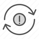 arrow, circle, exclamation, repeat icon