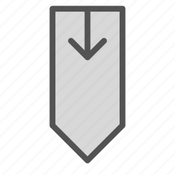 arrow, down, tag icon