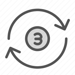 arrow, circle, number, repeat, time icon
