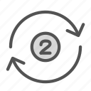 arrow, circle, number, repeat icon
