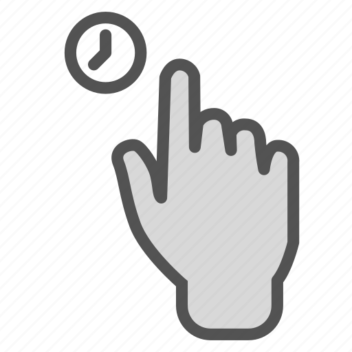 clock, finger, hand, hold, press, time, touch icon