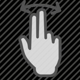 arrow, double, finger, hand, swap, swipe icon