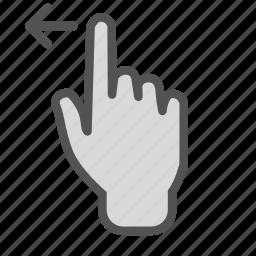 arrow, finger, hand, left, screen, swipe, touch icon