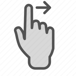 arrow, finger, hand, right, screen, swipe, touch icon