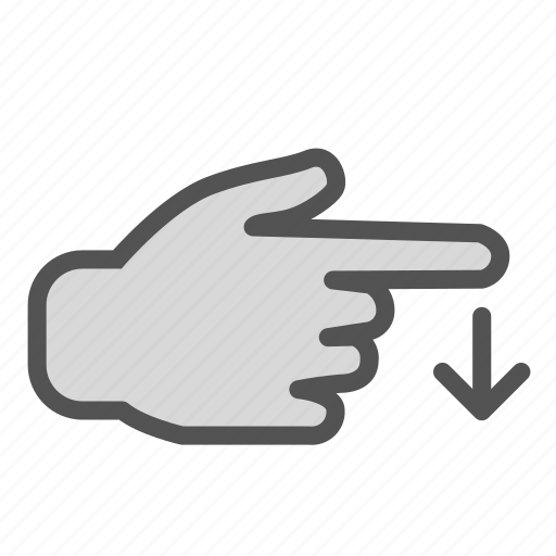 arrow, down, hand, screen, swipe, touch icon