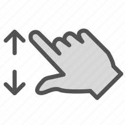 arrow, double, finger, hand, screen, touch, zoom icon