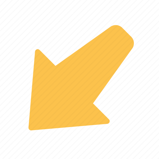 arrow, down, left, pointing icon