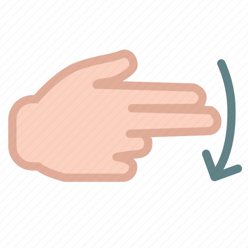 arrow, down, finger, hand, right icon